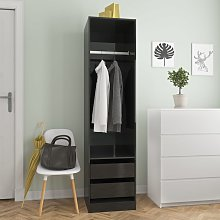 vidaXL Wardrobe with Drawers High Gloss Black