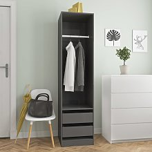 vidaXL Wardrobe with Drawers High Gloss Grey