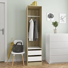 vidaXL Wardrobe with Drawers White and Sonoma Oak