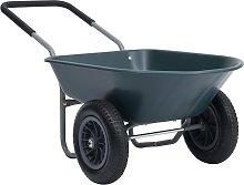 vidaXL Wheelbarrow Green and Grey 140x63x65 cm 78