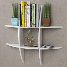 vidaXL White MDF Floating Wall Display Shelf