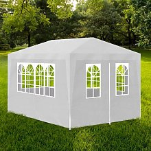 vidaXL White Party Tent with 4 Walls 3 x 4 m