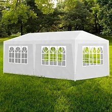 vidaXL White Party Tent with 6 Walls 3 x 6 m