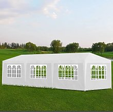 vidaXL White Party Tent with 8 Walls 3 x 9 m
