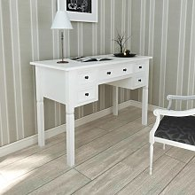 vidaXL White Writing Desk with 5 Drawers