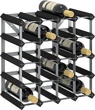 vidaXL Wine Rack for 20 Bottles Black Solid Pine