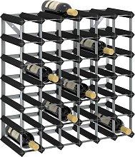 vidaXL Wine Rack for 42 Bottles Black Solid Pine