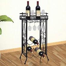 vidaXL Wine Rack with Glass Holder for 9 Bottles