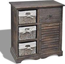 vidaXL Wooden Cabinet 3 Left Weaving Baskets Brown