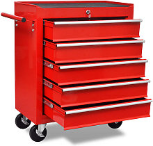 Vidaxl - Workshop Tool Trolley 5 Drawers Red