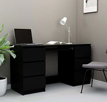 vidaXL Writing Desk Black 140x50x77 cm Chipboard