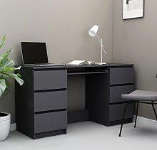 vidaXL Writing Desk Grey 140x50x77 cm Chipboard