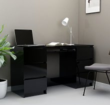 vidaXL Writing Desk High Gloss Black 140x50x77 cm