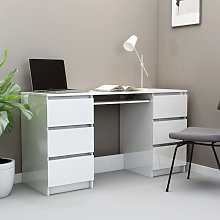 vidaXL Writing Desk High Gloss White 140x50x77 cm