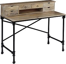 vidaXL Writing Desk Solid Mango Wood and Steel