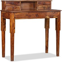 vidaXL Writing Desk with 5 Drawers Solid Sheesham