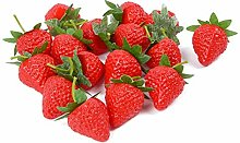 VIDELLY 20 Pieces Artificial Strawberries Fake
