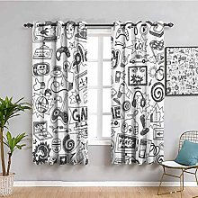 Video Games Cute curtain Black and White Sketch