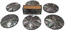 VIE Naturals Capiz Inlay Round Coasters, Set of 6,