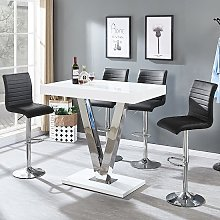 Vienna Bar Table In White Gloss And 4 Ripple Black