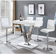 Vienna Bar Table In White Gloss And 4 Ripple White