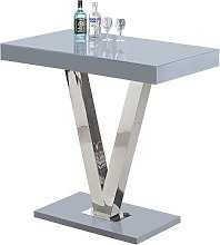 Vienna Glass Bar Table In Grey Gloss And Stainless