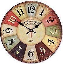 VieVogue Retro Wooden Wall Clock, Large Vintage