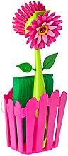Vigar Flower Power Washing Up Set Basket Pink