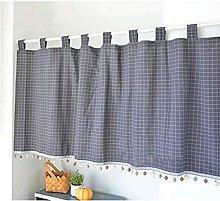 VIIPOO Half Curtain Elegant Checkered Small