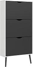 Viken 3 Drawer Shoe Cabinet - White & Black