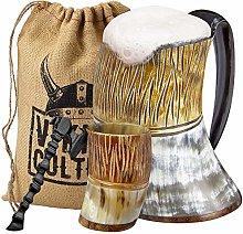 Viking Culture Ox Horn Mug, Shot Glass, and Axe