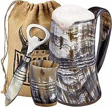 Viking Culture Ox Horn Mug, Shot Glass, and Bottle