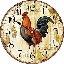 VIKMARI Kitchen Wall Clock 8 Inch Rustic Rooster