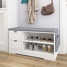 VIKOVCIM White Shoe Bench Storage with Seat