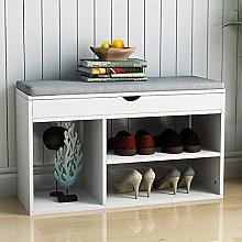 VIKOVCIM White Wooden Shoe Storage Bench with