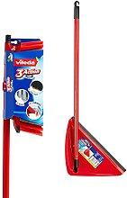 Vileda 3Action Broom Plus Long Handled Dustpan, Red