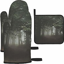 Vilico Forest Dark Woods Trail Path Oven Mitts and