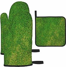 Vilico Green Grass Field Oven Mitts and Pot Holder
