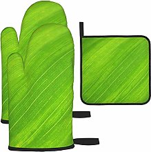 Vilico Green Leaf Oven Mitts and Pot Holder