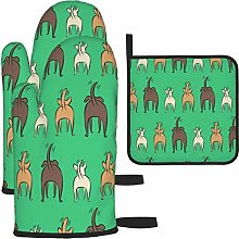Vilico Happy Dogs Green Oven Mitts and Pot Holder