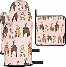Vilico Happy Dogs Pink Oven Mitts and Pot Holder