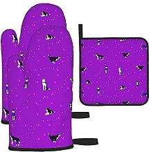 Vilico Happy Huskies Purple Oven Mitts and Pot
