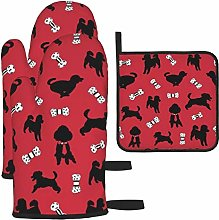 Vilico Happy Poodle Red Oven Mitts and Pot Holder