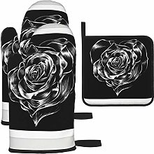 Vilico Heart Rose Dark Prints Oven Mitts and Pot