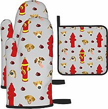 Vilico Hydrant And Dog Light Gray Oven Mitts and