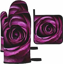 Vilico Pink Flower Photography Oven Mitts and Pot
