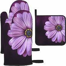 Vilico Purple Petaled Flower Oven Mitts and Pot