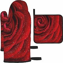 Vilico Red Rose Flower Oven Mitts and Pot Holder