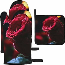 Vilico Rose Bokeh Red Rose Oven Mitts and Pot