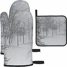 Vilico Snow Scene Trees Isolated Cold Gray Oven